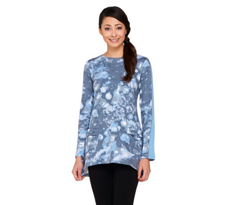 LOGO by Lori Goldstein Long Sleeve Printed Cotton Modal Top