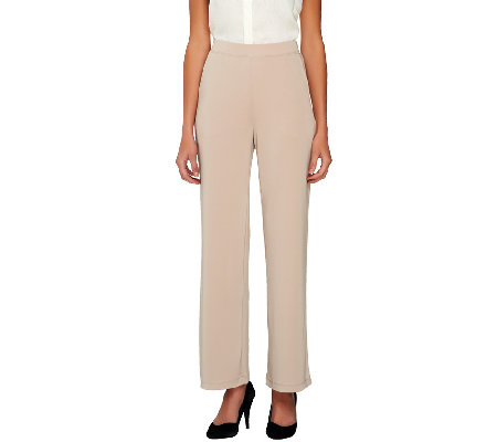 Susan Graver Premier Knit Full Length Wide Leg Pull-on Pants