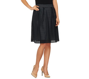 Dennis Basso Fully Lined Eyelet Skirt with Pockets - A263179