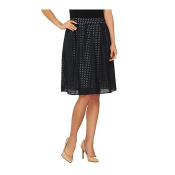 Dennis Basso Fully Lined Eyelet Skirt with Pockets