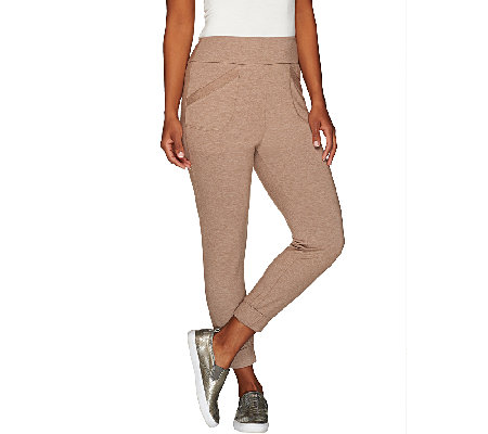 LOGO Lounge by Lori Goldstein Regular Crop Pants with Banded Hem