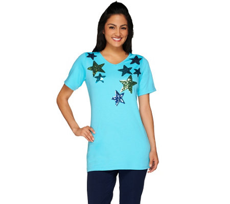 Quacker Factory Star Spangled V-Neck Elbow Sleeve Tunic