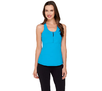 cee bee CHERYL BURKE Racer Back Tank with Zipper Detail - A264179