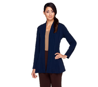 """As Is"" Susan Graver Liquid Knit Long Sleeve Open Front Cardigan - A264379"