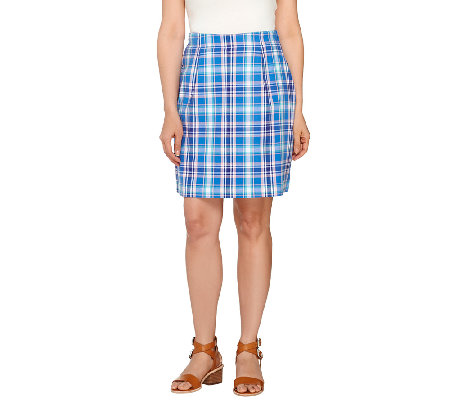Denim & Co. Golf Plaid Skort with Pockets