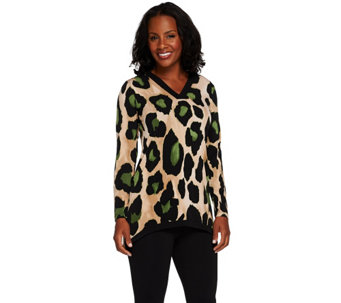 Susan Graver Printed Liquid Knit Long Sleeve V-neck Top - A267979