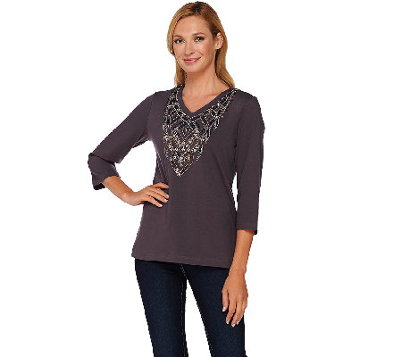 Bob Mackie's Embellished 3/4 Sleeve Knit Top with V-Neckline