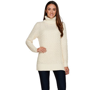 Liz Claiborne New York Cable Knit Turtleneck Tunic - A268679