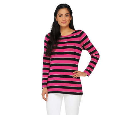 """As Is"" Susan Graver Striped Lurex Knit Bateau Neck Long Sleeve Top"