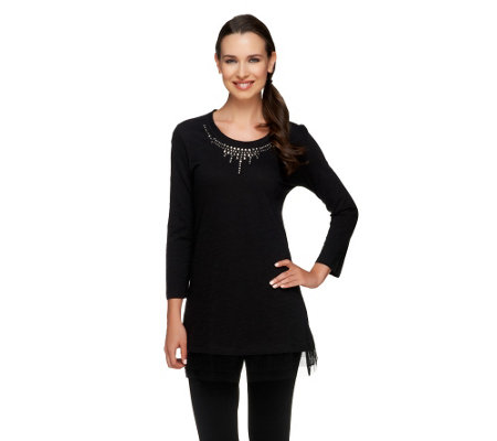"""As Is"" LOGO by Lori Goldstein Knit Top with Jeweled Neckline"