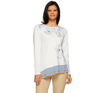 LOGO Lounge by Lori Goldstein Printed Top w/ Stones and Chiffon Hem - A269979