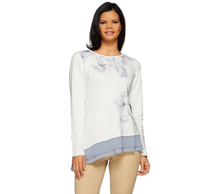 LOGO Lounge by Lori Goldstein Printed Top w/ Stones and Chiffon Hem
