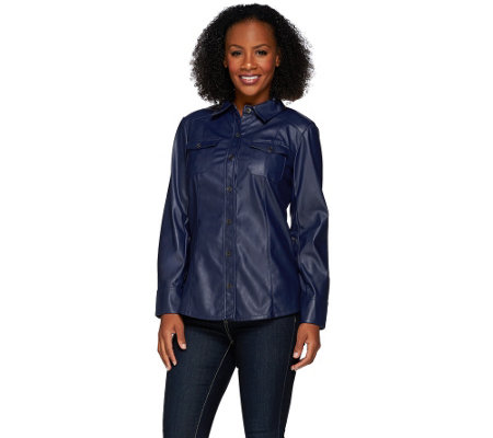 Denim & Co. Faux Leather Shirt with Seaming Detail