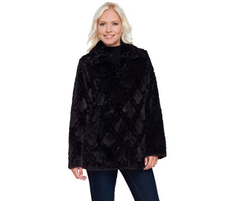 Dennis Basso Sculpted Faux Fur Jacket with Maxi Collar