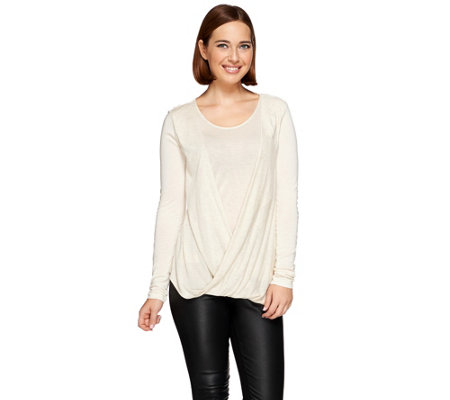 H by Halston Twist Front Long Sleeve Knit Top