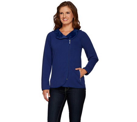 Denim & Co. Jersey Asymmetric Zip Front Jacket w/ Fleece Lining
