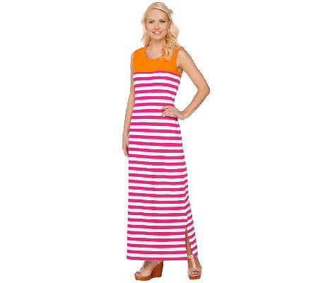 """As Is"" Denim & Co. Striped Sleeveless Maxi Dress with Color Block"