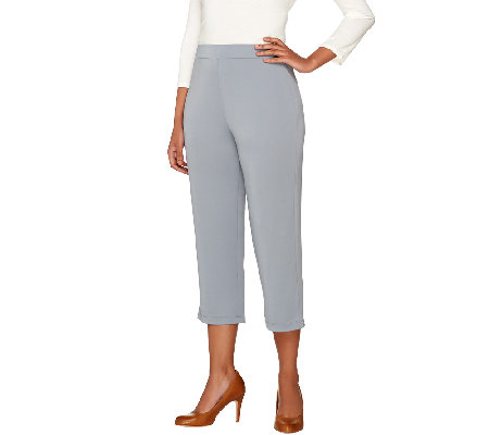 """As Is"" Susan Graver Premier Knit Comfort Waist Pull-On Capri Pants"