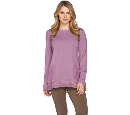 LOGO Lounge by Lori Goldstein Top with Embroidered Mesh Trim