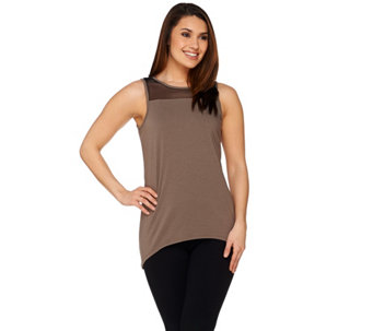 AnyBody Loungewear Cozy Knit Mesh Trim Tank Top - A275079