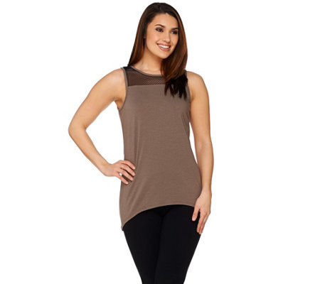 AnyBody Loungewear Cozy Knit Mesh Trim Tank Top