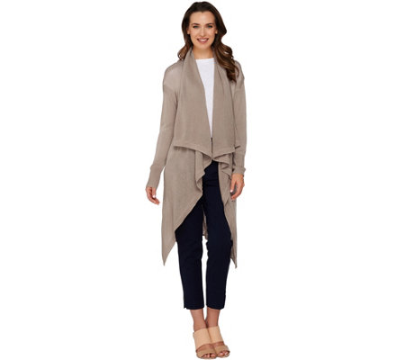 H by Halston Cowl Neck Long Cardigan