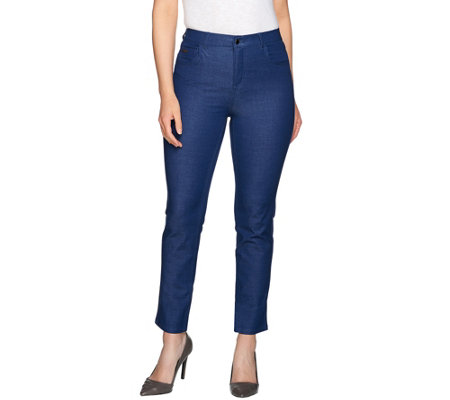 H by Halston Studio Stretch Fly Front Ankle Pants