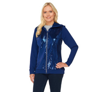 """As Is"" Quacker Factory Long Sleeve Zip Front Sequin Jacket - A278179"