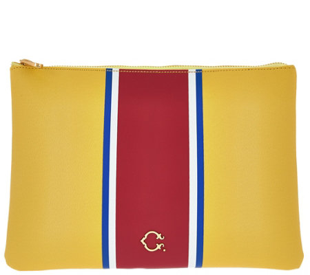 C. Wonder Large Racing Stripe Printed Zip Top Pouch with Hardware