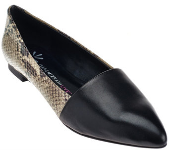 """As Is"" Isaac Mizrahi Live! Leather Pointed Toe Flats - A278679"