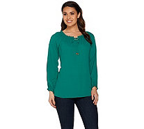 Susan Graver Feather Weave Peasant Top with Cold Shoulder - A278879