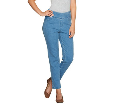 Denim & Co. Perfect Denim Smooth Waist Regular Ankle Jeans