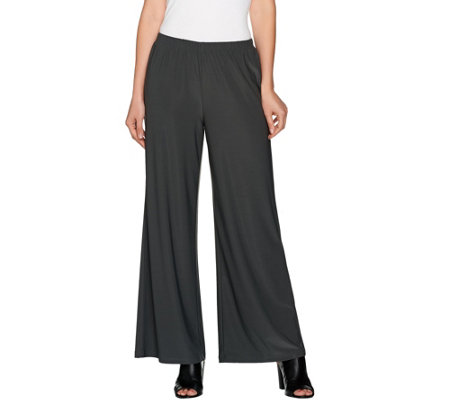Joan Rivers Petite Length Jersey Knit Wide Leg Pull-On Pants