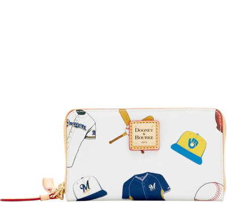 Dooney & Bourke MLB Brewers Zip Around Phone Wristlet