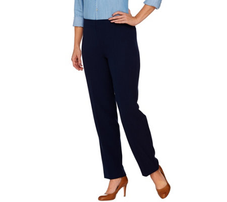 """As Is"" Susan Graver Stretch Crepe Comfort Waist Pull-On Slim Leg Pants"