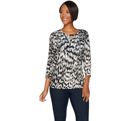 Susan Graver Printed Liquid Knit Top with Keyhole Trim
