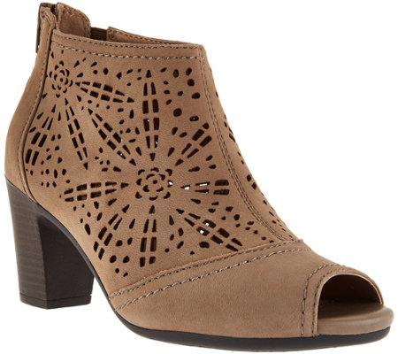Earth Origins Suede Peep-toe Perforated Booties - Shaye