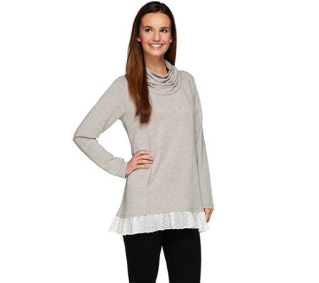 """As Is"" LOGO Lounge by Lori Goldstein Top with Cowl Neck & Chiffon Trim"