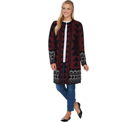Studio by Denim & Co. Tribal Jacquard Open Front Cardigan