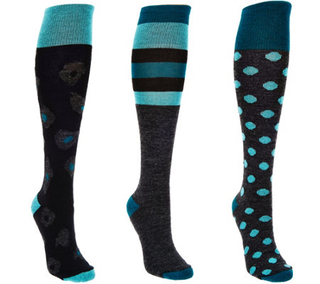 Catawba Set of 3 Women's Wool Blend Fashion Knee High Socks