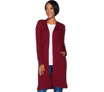Isaac Mizrahi Live! Ribbed Open Front Duster Cardigan - A286379