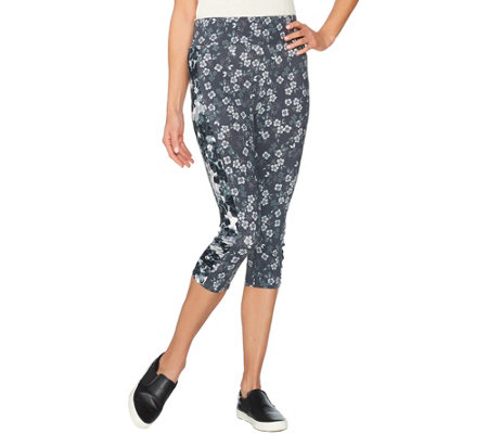 LOGO by Lori Goldstein Printed Knit Capri Pants with Ruching