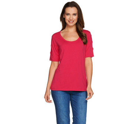 """As Is"" Susan Graver Weekend Cotton Modal Short Sleeve w/ Sleeve Detail"