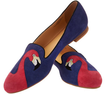 """As Is"" C. Wonder Flamingo Embroidered Suede Loafers - Caroline - A287579"