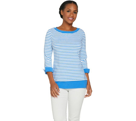 Susan Graver Weekend Striped Cotton Modal Top