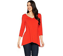 Susan Graver Stretch Cotton Modal Reversible Neckline Top - A288479