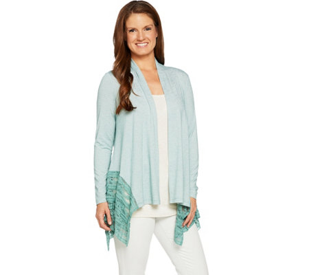 LOGO by Lori Goldstein Open Front Stripe Cardigan w/ Lace Godets