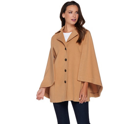 """As Is"" Joan Rivers Classic Cape with Button Front"