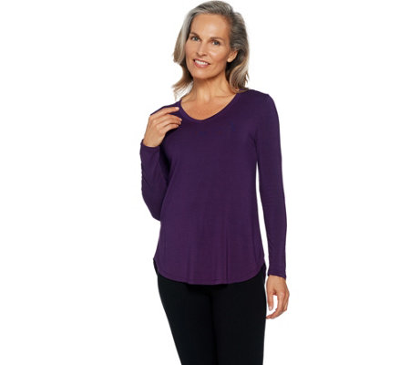 Cuddl Duds Softwear Stretch Long Sleeve V-Neck Top