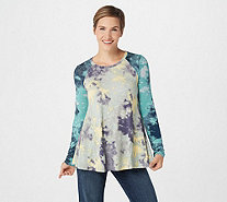 LOGO by Lori Goldstein Tie Dye Top w/ Color Block Shoulder Yoke - A294479
